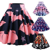 Women Casual Retro Swing Skirt Butterfly/ Halloween Printing Evening Party Skirt