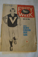 AFL- Footy Week - Vintage 1965 - One Shilling. Half a Century Old. Classic Info.