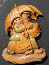 Anri Carved Wooden Figurine - Ferrandiz - Boy/Girl w/Umbrella