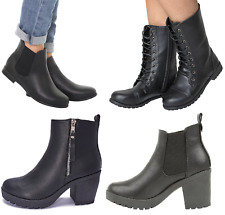 Womans Chelsea Ankle Black Zip Grip Soles Chunky Festival Boots Flat High Heel
