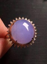 Icy Lavender Jadeite Jade Ring 18k YG with diamonds  -  Elegent