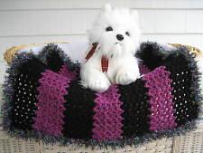 Fancy Dog Cat Bed Blanket Black/Grape Stripe with Sparkle Faux Fur Trim