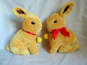 """2x 10"""" Lindt Rabbit Plush Soft Toy rattle chocolate collectable advert"""