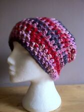 Hand Crochet Adult Chunky Pink / Purple Slouchy Beanie / Wool Hat / Ski Hat