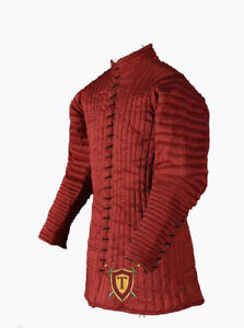 Gambeson RED Armor Medieval Knight Dress quilted Costume LARP Dress Renaissance