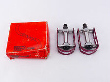 "Ofmega Bmx Pedals 9/16"" vintage Bicycle Red Anodized Last Pair! Kkt Mks Nos"