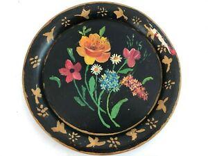Vintage Hand Painted Toleware Round Metal Serving Tray Flowers Black