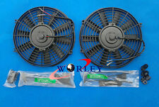"2 x 10"" 10 inch 12V Slim Electirc Radiator Cooling Thermo Fan & Mounting kit NEW"