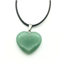 UK Beautiful Aventurine Crystal Gemstone Heart Pendant Black Cord Necklace.