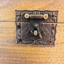 Rectangle Square Decorative Jewelry Chest Retro Antique Brass Latch Catch Clasps