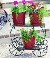 Planter Stand Cart Two Tiered Flower Pot Garden Decor Patio Lawn Yard Outdoor