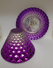 Yankee Candle PURPLE GLASS JAR SHADE & TRAY Set New Home Decor Sold Out