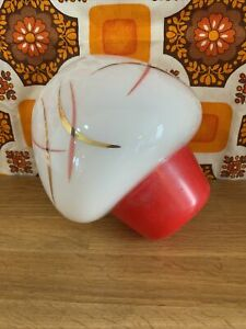 Vintage Mid Century Glass Light Fitting Red White Gold 1950s Atomic Sputnik Retr