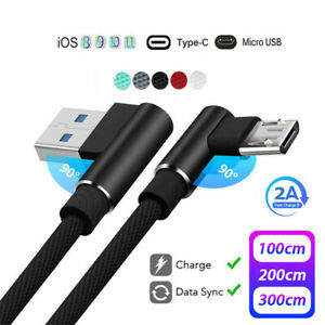 USB Cable 90 Degree Nylon Braided 1/2/3M Fast Charger Data Cord For iPhone X