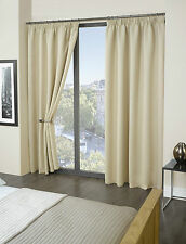 Thermal Pencil Pleat Blackout Curtains 9 Modern Colours and 8 Sizes Beige 90 X 90