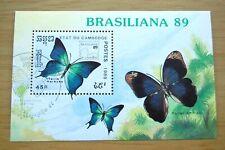 Butterflies Brasiliana Expo 1989 Cambodia Stamp Sheet VFU
