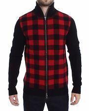 NWT $600 COSTUME NATIONAL C'N'C Red Black Wool Full Zipper Sweater IT50 / L