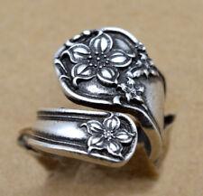 Antique Silver Art Flower Adjustable Rings Handmade Spoon Ring