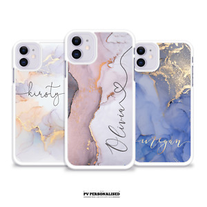 PERSONALISED PHONE CASE NAME MARBLE PLASTIC COVER FOR IPHONE 7 8 SE PLUS 11 X 12