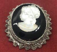 Vintage Fashion Costume Brooch Pin Pendant Cameo Silver Tone