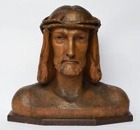 Große Jesus Christus Büste um 1900 Skulptur Holz Linde handgeschnitzt 45 x 41 cm