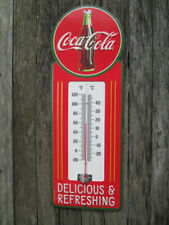 Coca-Cola Thermometer Vintage Look Red Contour Bottle Script Logo - BRAND NEW