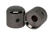 "Metal Domed Knobs for 1/4"" pot shaft - Smoked Black Nickel Set of 2"