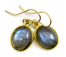Labradorite Earrings Blue Flash Oval smooth Bezel Drops 1.8 14k Gold Sterling