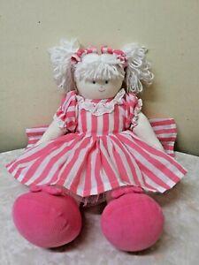 Kate Finn Designer Rag/Cloth Doll White Hair 39 cm Pink White Dress Brand New