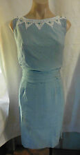 50s Dusty Blue Linen Slvless Dress w /White Accent Beading by Cele Peterson