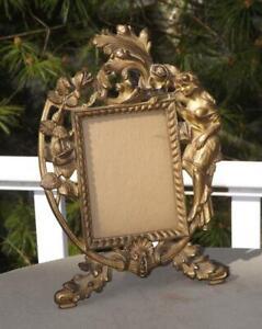 "Antique Art Nouveau Victorian Lady & Roses Tabletop Picture Frame 4x5"" Image EXC"