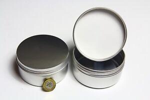 ROUND METAL TIN Screw Lid, Silver, Empty, Storage 250ml 90mm Diam. x 45mm High