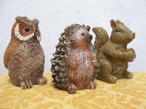 Sculpted Animal CANDLE Set (3) Hedgehog Owl Squirrel Ski Lodge Chipmunk NIB $25