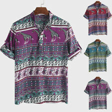 Mens African Clothing Summer Dashiki Tribal Print Tops Mexican Hippy Tee T-Shirt