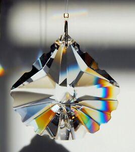 "50mm Scallop Spade Austrian Crystal Clear Prism Suncatcher 2"""