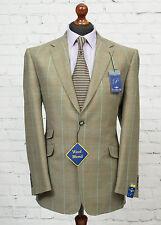 Carabou Platinum Windowpane Check Tweed Blazer Brown Beige Jacket 40R