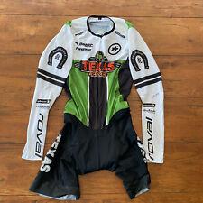 Assos Mens Large Cycling Skinsuit Long Sleeve Green Black Speedsuit Racesuit L