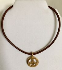 Coach Peace Sign Coin Necklace Choker Gold Tone Brown Leather Cord
