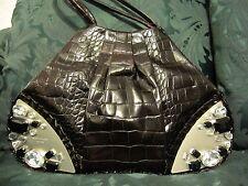 Renato Angi croc embossed crystal accented purse handbag mahogony