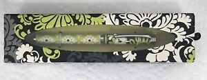 New Rare Vera Bradley Baroque Chartreuse Ball Point Pen Black Ink Refillable HTF