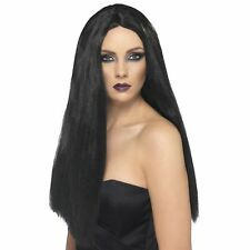 Long Black Witch Morticia Halloween Wig Womens Ladies Fancy Dress Accessory