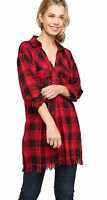 Umgee Women's Red/Black Flannel Three-Button Tunic with Frayed Hem