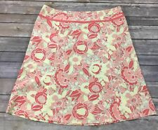 Eddie Bauer Womens A-Line Knee Length Skirt 6 Coral Tan Yellow Floral EUC R39
