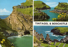 OLD POSTCARD - CORNWALL - Tintagel and Boscastle - multiview - 1970/80 - J Hinde