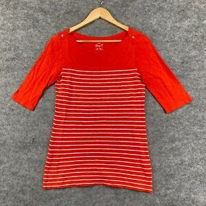 J Crew Womens T-Shirt Top Size S Small Orange Striped Half Sleeve 199.11