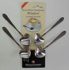 Sweet Heart Stainless Steel Tea Spoon, Pack of 4 Teaspoons, Windsor by Grunwerg