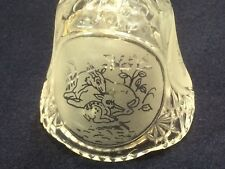 "Lead Crystal Bell "" fawn with mother doe etching """