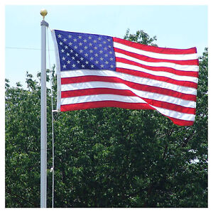 18 FT.STEEL FLAGPOLE WITH (1) 3'x5' U.S FLAG (1) 4'x6' FLAG & (2) ANTENNA FLAGS