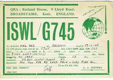 Old QSL from A.J. Jeffrey (ISWL G745) Lloyd Road, Broadstairs, Kent (17/2/1948)