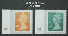 2017 M17L 2p and 10p from Counter Sheets CYL SINGLE STAMPS on SBP2 Paper